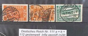 Deutsches Reich n. 111 A + B + 112 timbrato inaspri esaminati (n28)