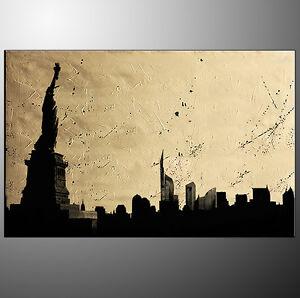 QUADRI-MODERNI-ASTRATTI-manhattan-New-York-liberta-DIPINTI-A-MANO-OLIO-SU-TELA