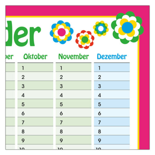Dauerkalender immerwährender Geburtstagskalender DINA3 gefaltet Pril Blumen 70er