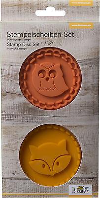 Birkmann 2 x Stempelscheiben-Set Fuchs und Eule für Birkmann Keksstempel ø 7cm
