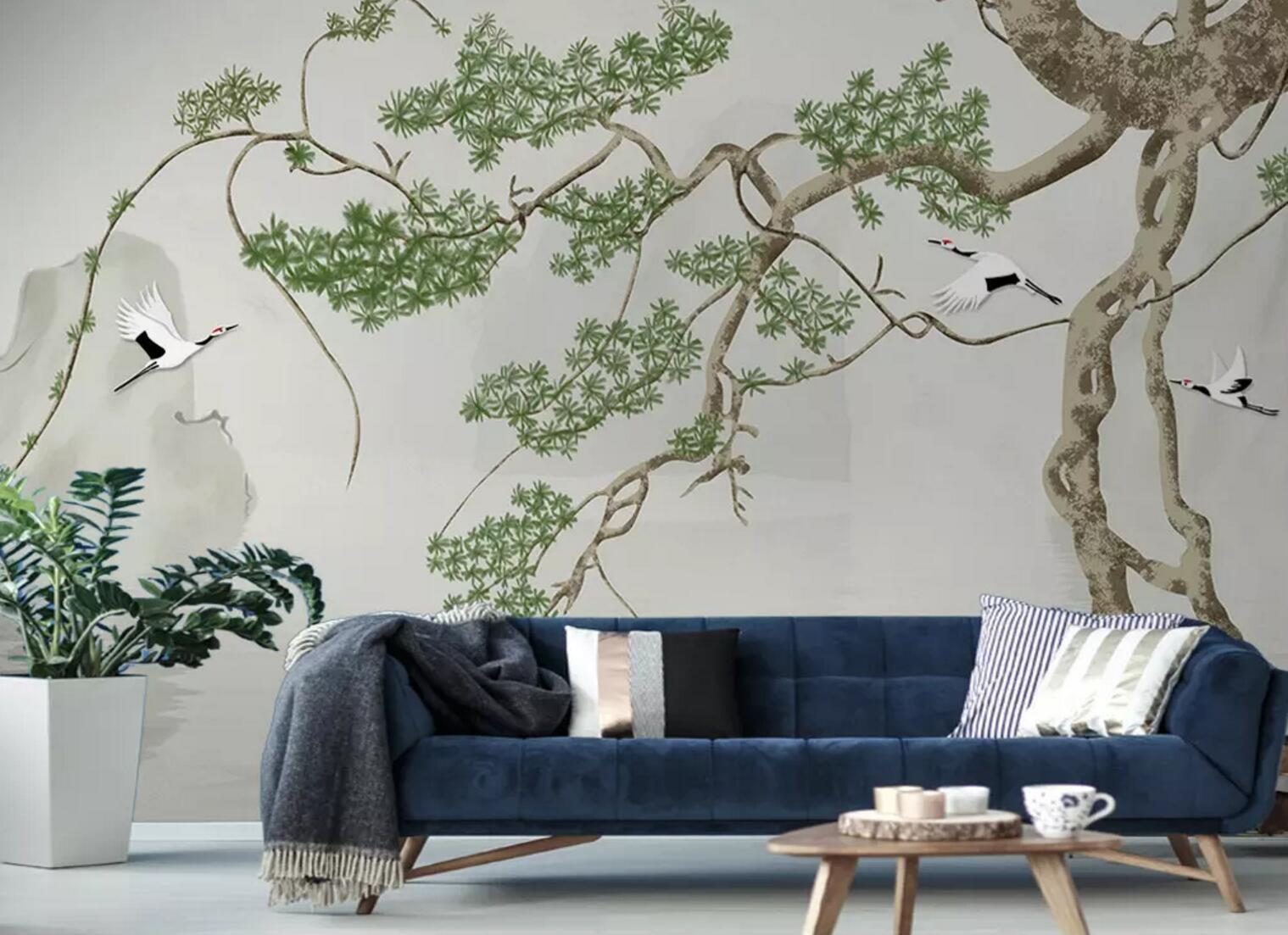 3D Bird Tree Grün 97 Wall Paper Exclusive MXY Wallpaper Mural Decal Indoor Wall
