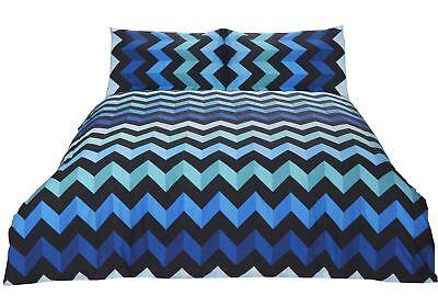 Zig Zag Chevron Streifen Blau Schwarz Baumwollmischung Kingsize-bettbezug Attraktive Designs; Möbel & Wohnen