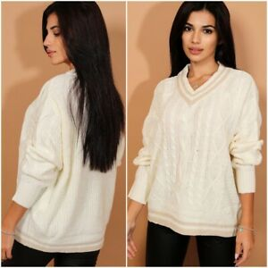 Womens-Cream-Cable-Knit-Preppy-Cricket-Jumper-Sweater-Striped-V-Neck-UK-8-10