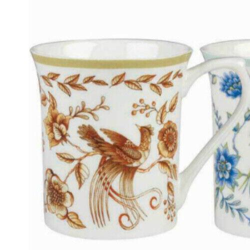 gift boxed Queens Royale Peacock Gold Fine Bone China Mug by Churchhill