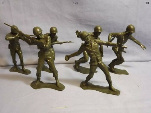 MARX Re Issue Molded Plastic Soldiers 6 Inch Marines Set RARE US MILITARY WWII!!