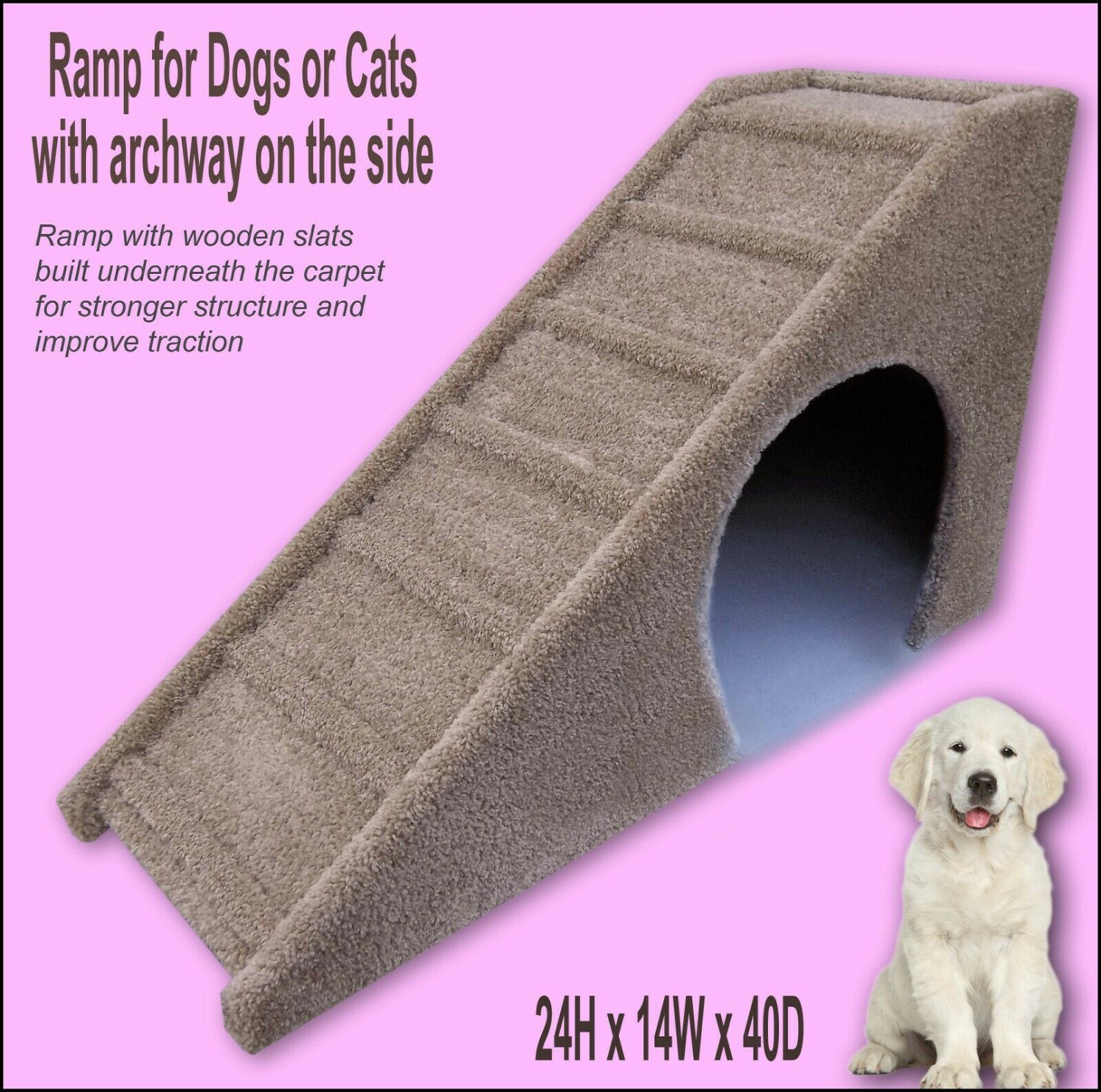 Sturdy Dog Ramp, 24  tall x 14  wide x 40  Deep Dog Ramp. Sturdy ramps.
