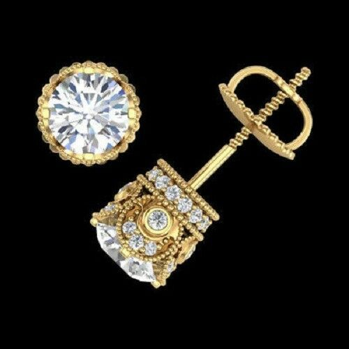 Round Cut Diamond Solitaire Vintage Stud Earrings 14K Yellow gold Finish 2.00 Ct