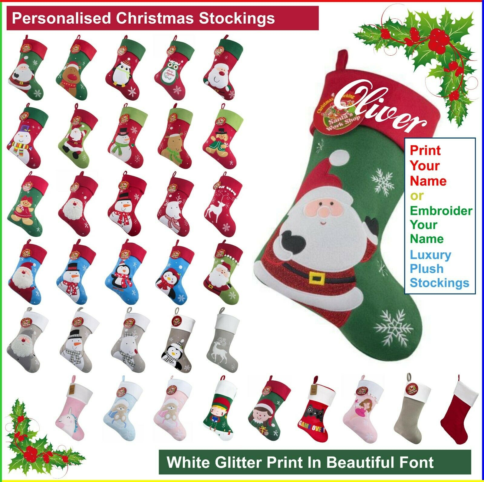 Personalised Kids Luxury Embroidered Xmas Stocking Plush Christmas Sack Present
