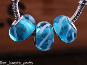 10pcs-15x9mm-Lampwork-Glass-Round-Stripes-Finding-Loose-Big-Hole-Beads-Lake-Blue