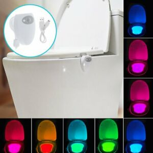LED Toilettenlicht Bewegungsmelder Toilettendeckel WC Klodeckel Nachtlicht DHL