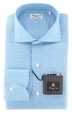 New $425 Finamore Napoli Off White Plaid Shirt 2018022324 Extra Slim