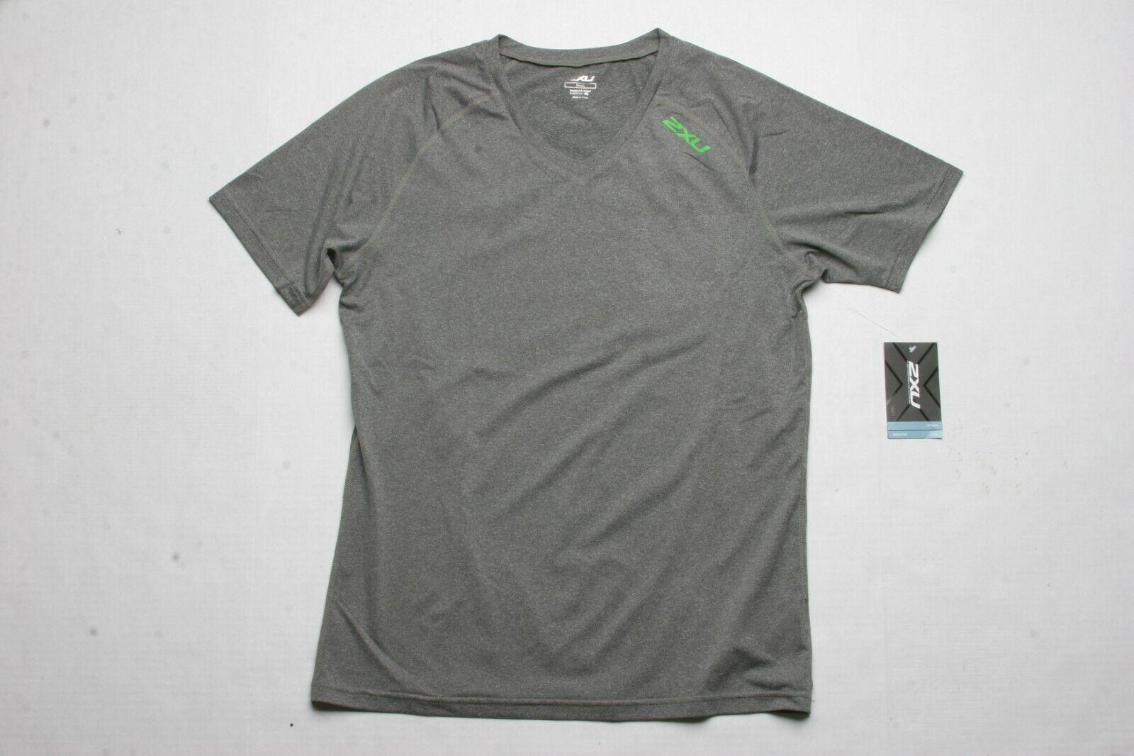 2XU Urban V Neck SS Tee (S) Ink Marle / Green Flash