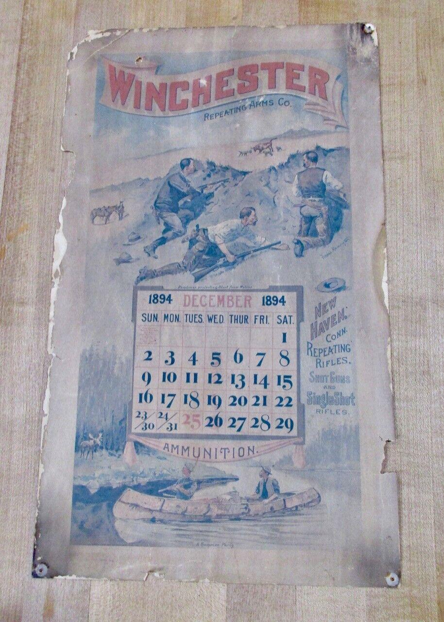 Vintage 1894 Winchester repitiendo calendario de caza de Frojoeric Remington Arms Co