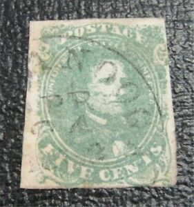 nystamps US CSA Confederate Stamp # 1 Used $200