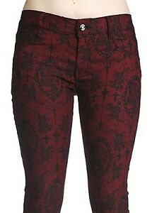 Banned-Skull-Rose-Cross-Cameo-Tattoo-VTG-Jeans-Trousers-Goth-Pants-Burgundy-Red