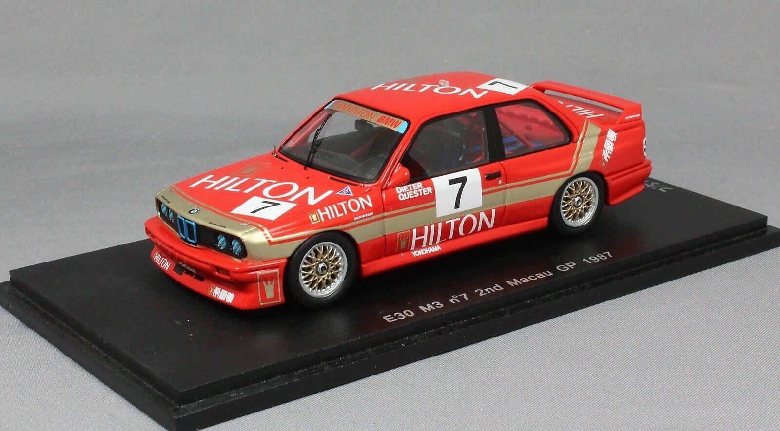 Spark BMW M3 E30 Macau Guia race 1987 Dieter Quester SA033 1 43 New LTD ED 300
