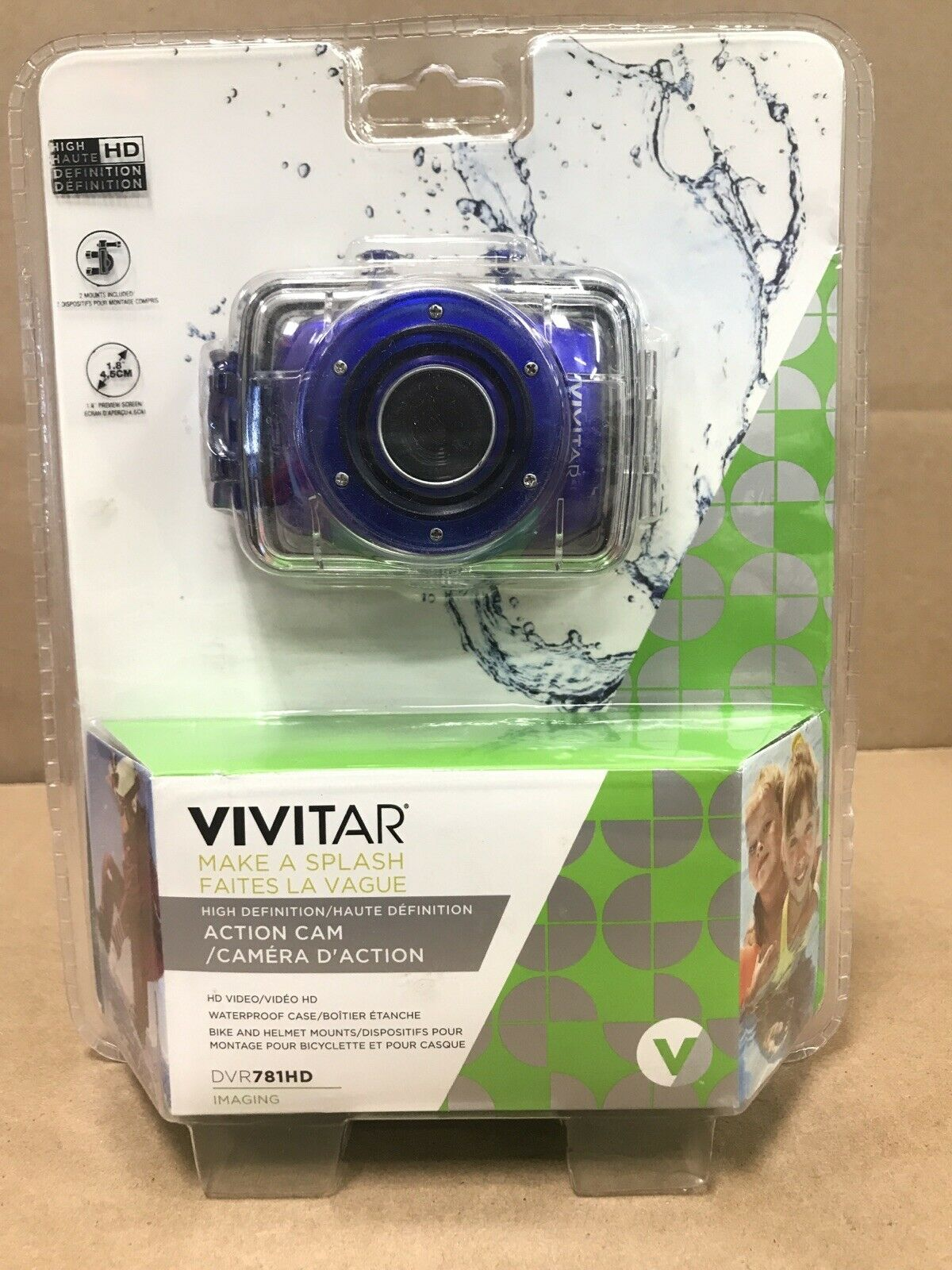 Vivitar Action Camera W/Waterproof Case Bike Mount Helmet Mount DVR783HD BLUE F5 action bike blue camera case dvr783hd helmet mount vivitar