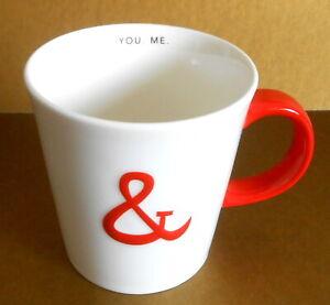 STARBUCKS Mug YOU ME 2013 12oz White Red Ceramic Coffee Tea Love Ampersand