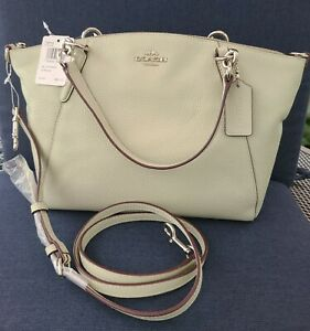 NWT COACH Small Kelsey Satchel Crossbody Pebble Leather Pale Green/Silver Metal