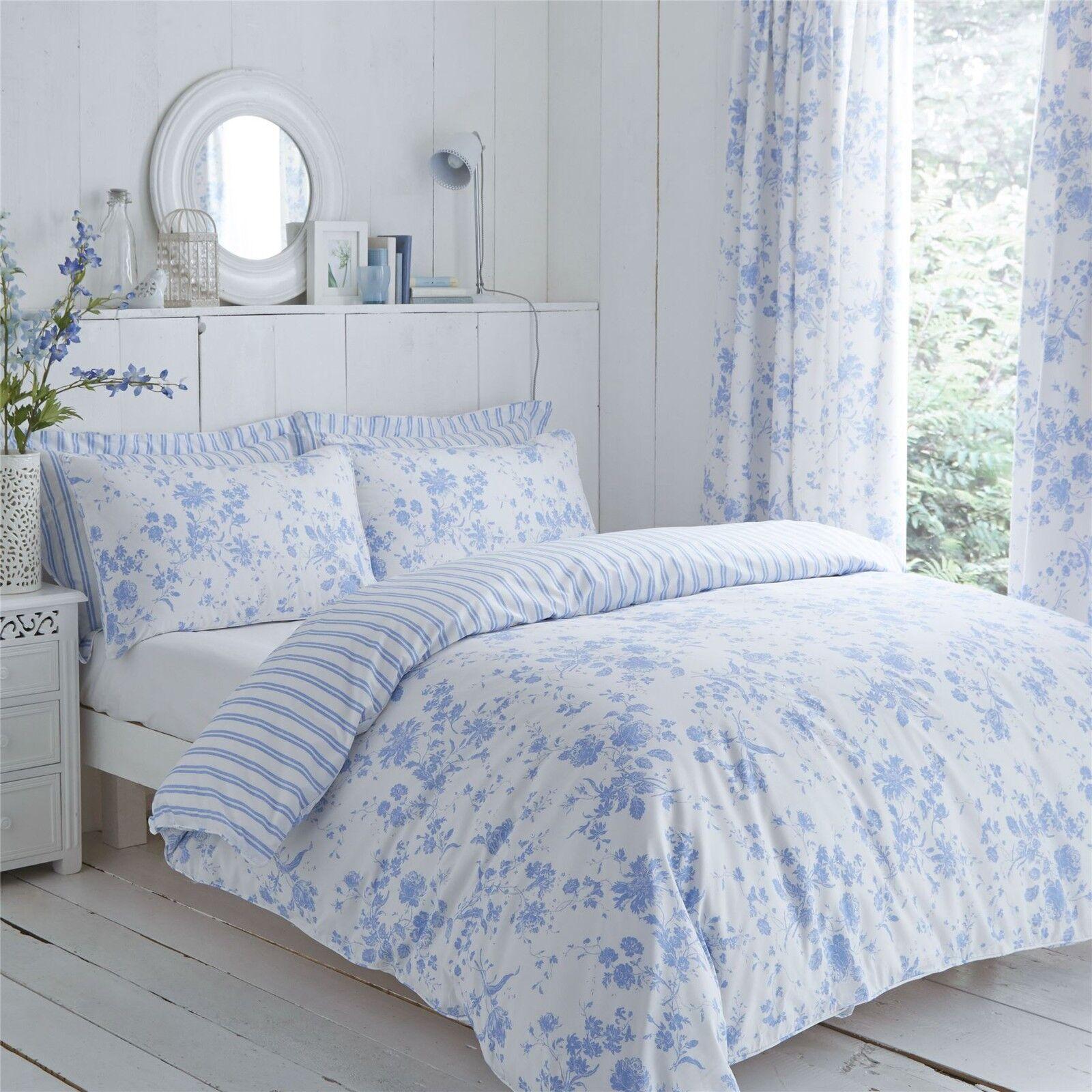 Blaumen Schleierstoff Streifen blau weiss Einzel Bettwäsche & Plissee-Vorhänge | Preisreduktion
