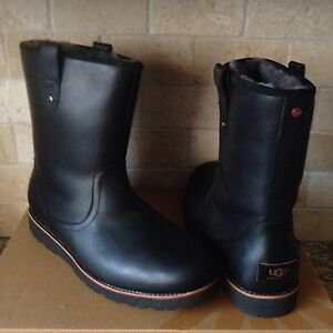 15513b9defd Details about UGG STONEMAN TL BLACK WATERPROOF LEATHER SHEEPSKIN BOOTS SIZE  US 8 MENS