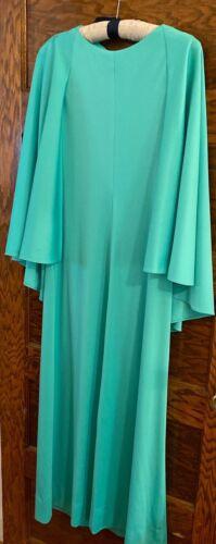 Vintage 70's Long Green Dress/Worn by Elma Farnswo