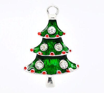 50 Versilbert Strass Emaille Weihnachtsbaum Anhänger B09909