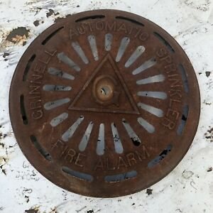 Vintage-Cast-Iron-Grinnell-Automatic-Sprinkler-Fire-Alarm-Bell-Cover-Steampunk