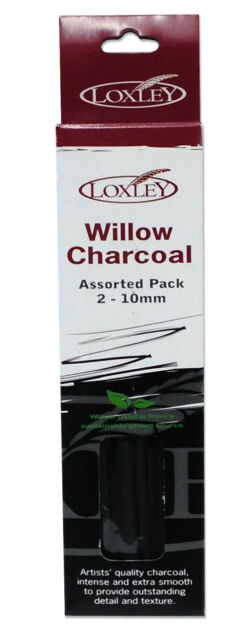 Loxley Artist/'s Willow Black Charcoal Set of Assorted Sizes 2-10mm