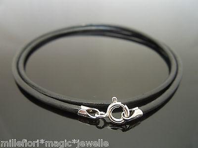 2mm Cuero Negro /& Plata de Ley Collar o Correa 40.6cm 45.7cm 50.8cm 55.9cm 61cm