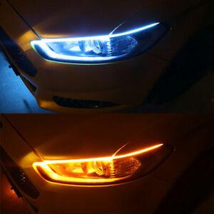 2-Ice-Blue-amp-Amber-LED-Switchback-Headlight-Sequential-DRL-Light-60cm-Strip-Tube