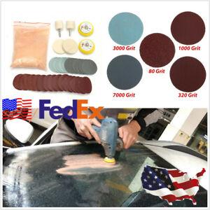 USA-Stock-34-X-Car-Deep-Scratch-Remover-Glass-Kit-2-039-039-Wheel-Cerium-Oxide-Powder