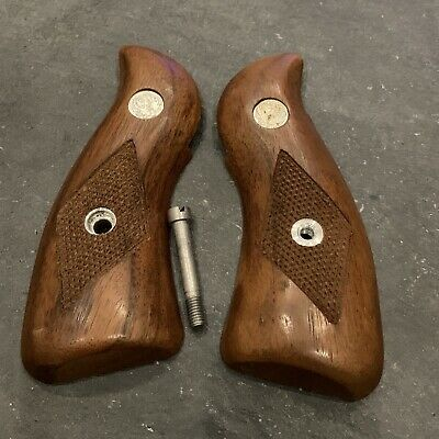 Factory Ruger Firearms Speed Six Wood Grips Round Butt Without Screw #60E