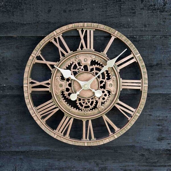 Outdoor Wall Clock Garden Display Bronze 30cm 12in Roman Numerals Mechanical Cog