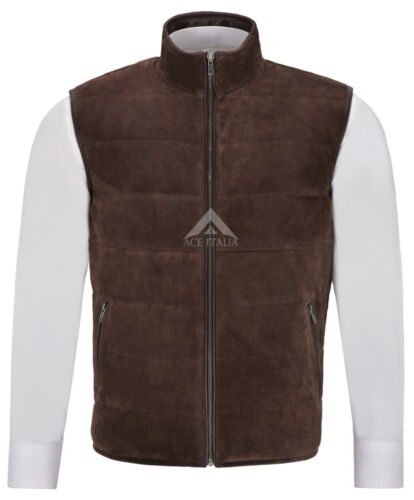 Men/'s Quilted Leather Waistcoat Brown Real Suede Leather Fashion Gilet Vest 1799