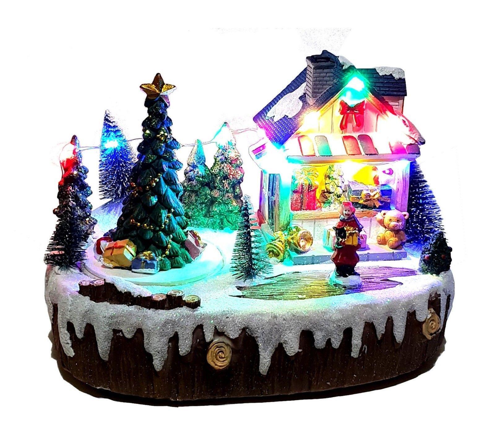 Spieluhr mit Musik & LED Winterlandschaft Weihnachten Weihnachtsdeko Tannenbaum