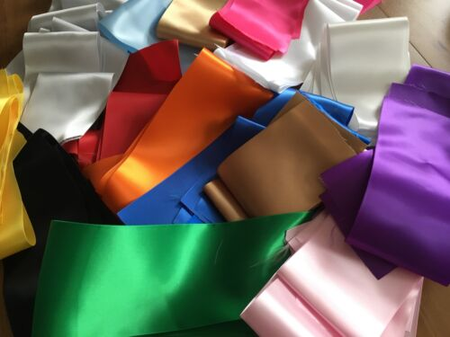 """150 grams Roll ends 4/"""" 100mm wide Satin Sash Ribbon Offcuts"""