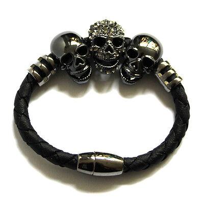 Butler and Wilson 3 Crystal Pewter Tone Skull Magnetic Cord Bracelet NEW