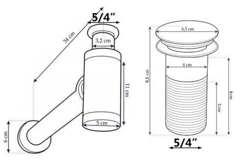 Click-Clack Sink Drain Black Powder Coated Waste Bottle Basin Trap