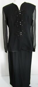 R-amp-M-Richards-Karen-Kwong-Black-Formal-Dress-Suit-Size-10-Long-Wedding