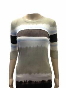 790-Dolce-amp-Gabbana-Women-039-S-Beige-Striped-Silk-3-4-Sleeve-Pullover-Sweater-Xs