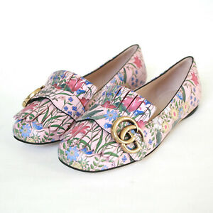 aef8893ed GUCCI pale rose pink micro floral flats GG logo Apollo St loafer ...
