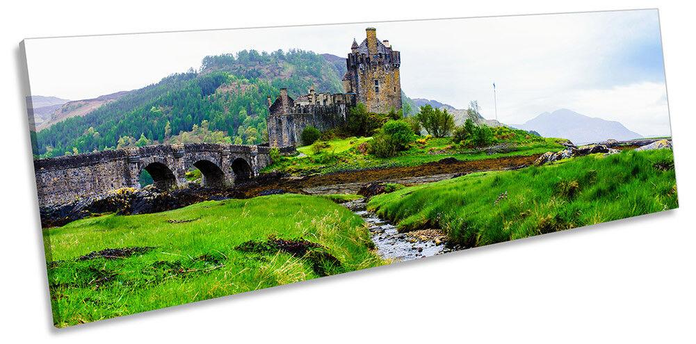 Eilean Donan Castle Scotland Picture PANORAMA CANVAS WALL WALL WALL ART Print cc8864