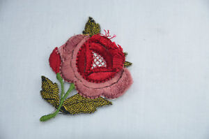 GOLD WEDDING ROSE 7cm Embroidered Sew Iron On Cloth Patch APPLIQUE IVORY WHITE