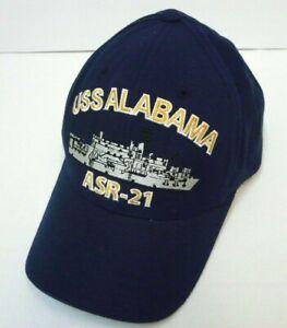 USS-Alabama-ASR-21-Mens-Blue-Baseball-Hat-Cap-Adjustable-Embroidered-EUC