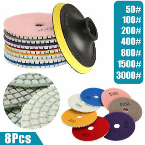 8PCS Diamond Polishing Pads Wet//Dry 5 inch Set For Granite Stone Concrete  R #