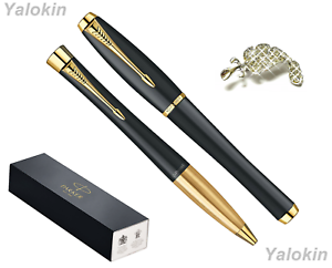 Luxury Gift Pen Set Muted Black w/ Gold Trim Finish Urban Ballpoint & Rollerball