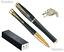 thumbnail 1 - Luxury Gift Pen Set Muted Black w/ Gold Trim Finish Urban Ballpoint & Rollerball