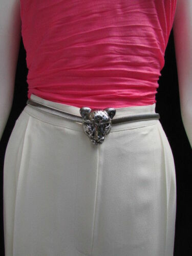 WOMEN HIP HIGH WAIST SILVER ELASTIC METAL TIGER HEAD BUCKLE FASHION BELT XS S M