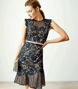 Reiss-Mesh-June-Applique-Floral-Lace-Embroidered-Cocktail-Party-Dress-UK-4-6-8